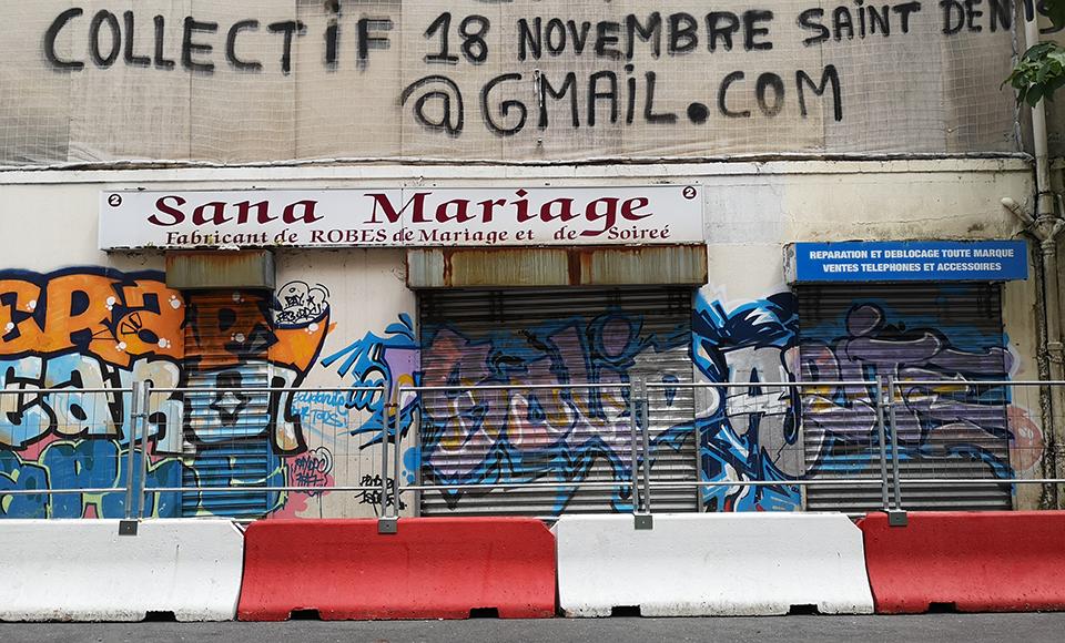 Façade murée du 48 rue de la république à Saint-Denis